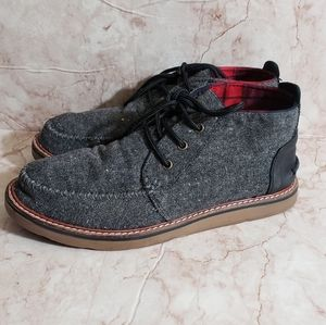 Tom's gray canvas mens boots 10.5